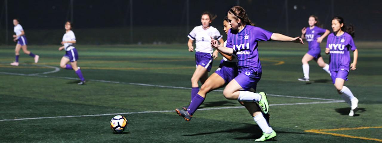 NYU Shanghai and NYU Abu Dhabi Go Head to Head in First Women's Soccer Match